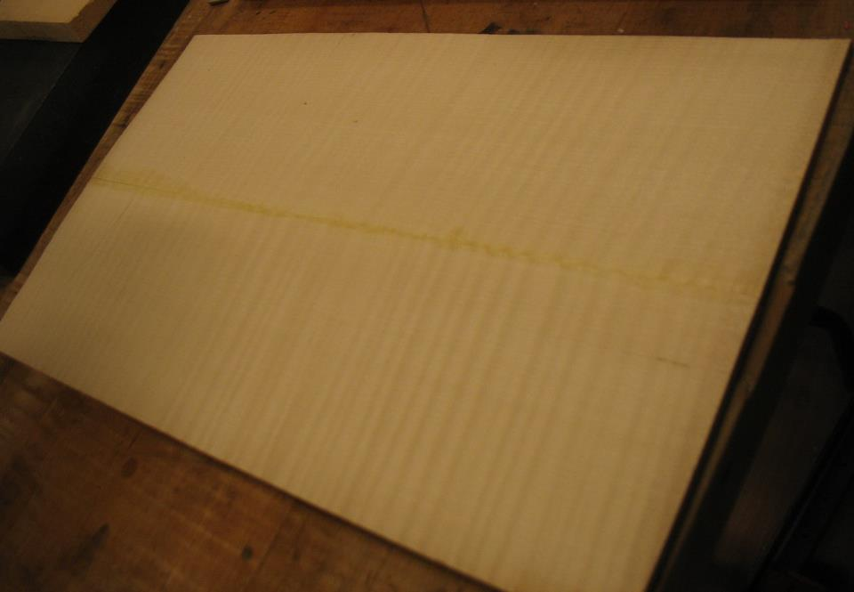 Dec. 5, 2012 - The wood that the back will be made from (maple), joined in the middle.