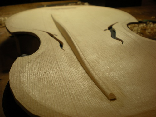 Close up of the finished bass bar from another angle.