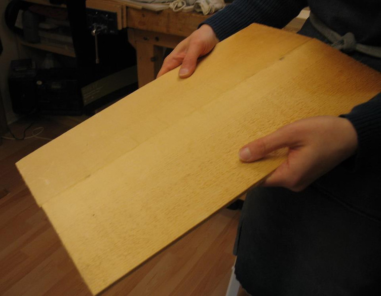 Dec. 5, 2012 - The wood that the top of the instrument will be made from (spruce), not yet joined.