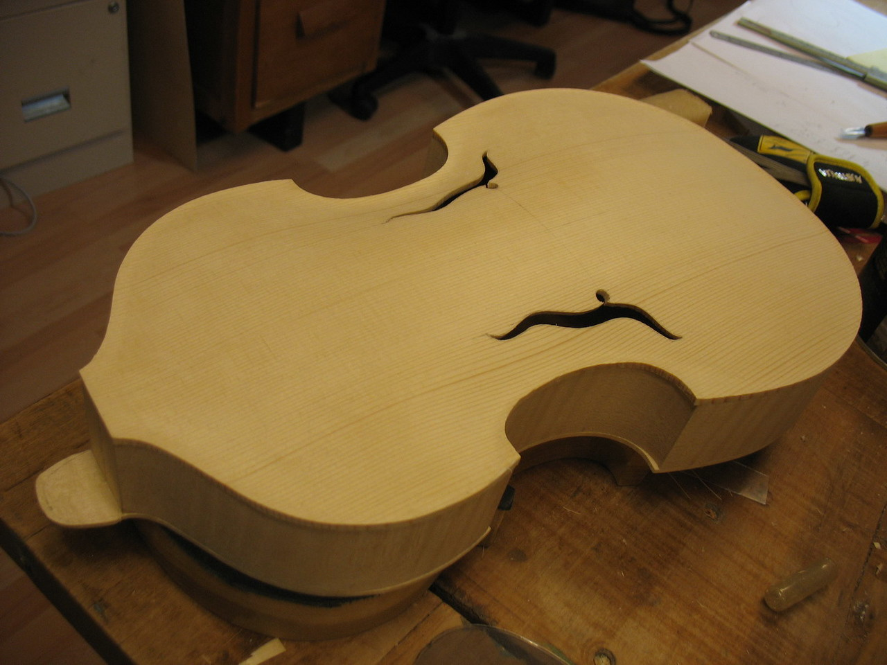 The body of the instrument glued together. The top will have purfling.