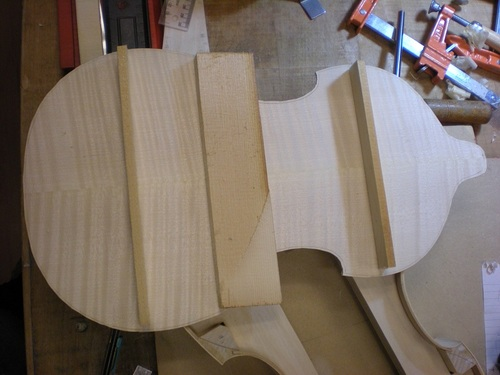 Jan. 8, 13 - the supports for the back of the Viola D'Amore. They will be glued in place and will lend a very slight arching to the back.