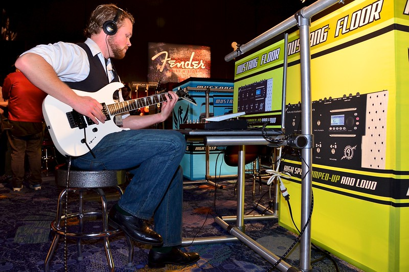 San Diego Musician Ryan Woolsley trying out a new Fender floor pedal.
