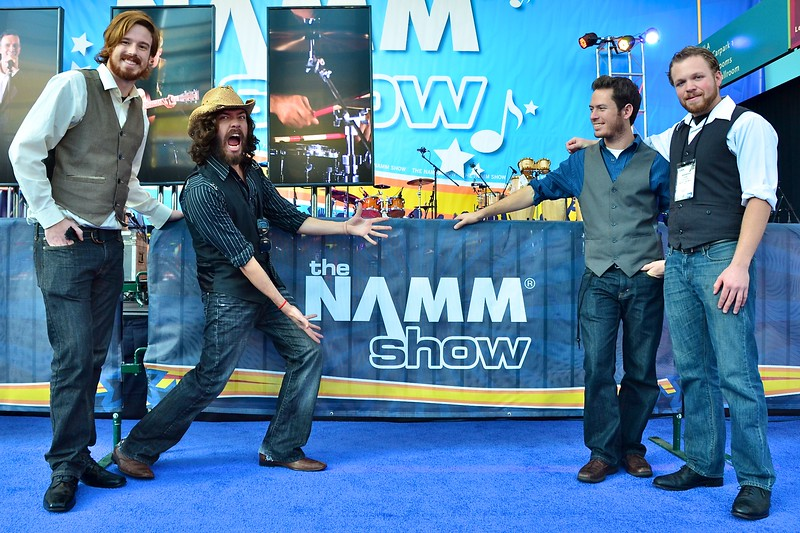 "Pacific Records band ""Mayfield"" showing off the NAMM show logo."