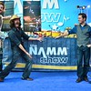 """Pacific Records band """"Mayfield"""" showing off the NAMM show logo."""