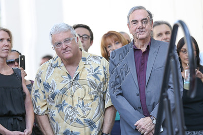 HOLLYWOOD, CA - AUGUST 10:  Singers Randy Newman (L) and Neil Diamond attend Neil Diamond's Hollywood Walk of Fame ceremony on August 10, 2012 in Hollywood, California.  (Photo by Chelsea Lauren/WireImage)