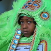 Member of The Comanche Hunters, Mardi Gras Indians performs at the Jazz & Heritage Stage first weekend .