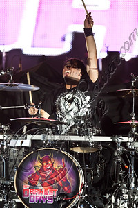 LOS ANGELES, CA - JUNE 15:  Drummer Doug Oliver of My Darkest Days performs at Staples Center on June 15, 2012 in Los Angeles, California.  (Photo by Chelsea Lauren/WireImage)