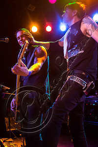 WEST HOLLYWOOD, CA - SEPTEMBER 23:  Bassist Nic Speck (L) and vocalist Jay Gordon of Orgy perform at The Roxy Theatre on September 23, 2012 in West Hollywood, California.  (Photo by Chelsea Lauren/WireImage)