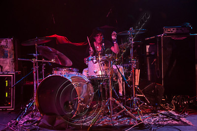 WEST HOLLYWOOD, CA - SEPTEMBER 23:  Drummer Eli James of Vera Mesmer performs at The Roxy Theatre on September 23, 2012 in West Hollywood, California.  (Photo by Chelsea Lauren/WireImage)