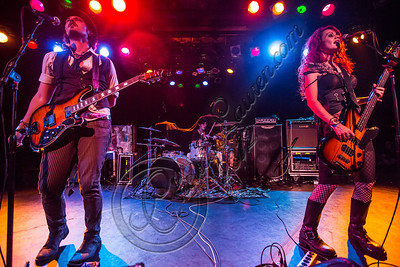 WEST HOLLYWOOD, CA - SEPTEMBER 23:  (L-R) Vocalist / guitarist Christopher Mesmer, drummer Eli James and bassist / vocalist Nadja Mesmer of Vera Mesmer perform at The Roxy Theatre on September 23, 2012 in West Hollywood, California.  (Photo by Chelsea Lauren/WireImage)