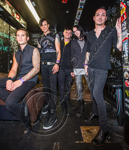 WEST HOLLYWOOD, CA - SEPTEMBER 23:  (L-R) Bassist Nic Speck, vocalist Jay Gordon, guitarist Ashburn Miller, guitarist Carlton Bost and drummer Jamie Miller of Orgy pose backstage at The Roxy Theatre on September 23, 2012 in West Hollywood, California.  (Photo by Chelsea Lauren/WireImage)