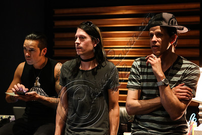 NORTH HOLLYWOOD, CA - JULY 07:  (L-R) Bassist Nic Speck, guitarist Carlton Bost and vocalist Jay Gordon of Orgy in the studio for the new Orgy album on July 7, 2012 in North Hollywood, California.  (Photo by Chelsea Lauren/WireImage)