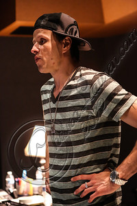 NORTH HOLLYWOOD, CA - JULY 07:  Vocalist Jay Gordon of Orgy in the studio for the new Orgy album on July 7, 2012 in North Hollywood, California.  (Photo by Chelsea Lauren/WireImage)