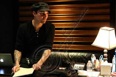 NORTH HOLLYWOOD, CA - JULY 07:  Drummer Jamie Miller of Orgy in the studio for the new Orgy album on July 7, 2012 in North Hollywood, California.  (Photo by Chelsea Lauren/WireImage)