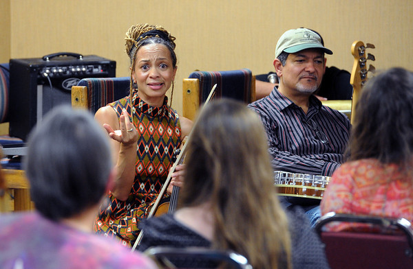 "Anne Harris, left, and Don Vappie, guest musicians, answers questions at  the trance blues workshop on Saturday. <br /> Blues artist, Otis Taylor, in his home town of Boulder, is hosting the Trance Blues Jam Festival. Unlike traditional music festivals where the audience is generally expected to be a semi-passive participant, the Trance Blues Jam Festival (TBJF) encourages people to be active participants who join together in the creation of music. For more photos and a video, go to  <a href=""http://www.dailycamera.com"">http://www.dailycamera.com</a>.<br /> Cliff Grassmick  / November 24, 2012"