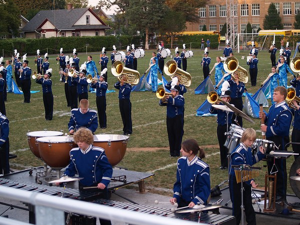 """Seth in """"the pit"""" w/ marimba--   marching band (Photo by Rob)"""