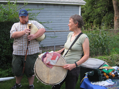 Rory and I with goat-skin instruments.