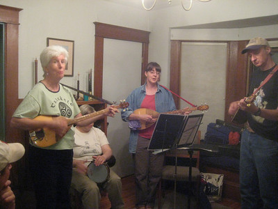 An hour later, this group led the singing in the dining room