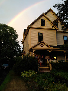 A brief rain shower was followed by a beautiful rainbow, and relief from the heat.