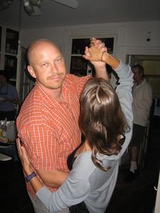 Randy and Natasha dancing in the kitchen