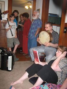 Raphael, Nancy, Naomi, Doris, Charlie, Turgay (using Sasha's tamborine/def), Cindi.
