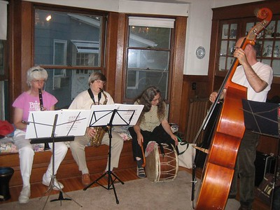 Bobba Culpa rehearsing in our dining room with Barbara and Joe for upcoming gig