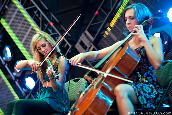Laura Musten and Hannah Schroeder of Owl City performs at the Amphitheater in Tampa, Florida on September 10, 2010