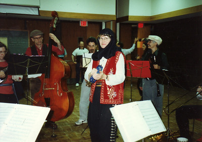 Playing for dancers at AIFD Halloween party, November 3, 1995