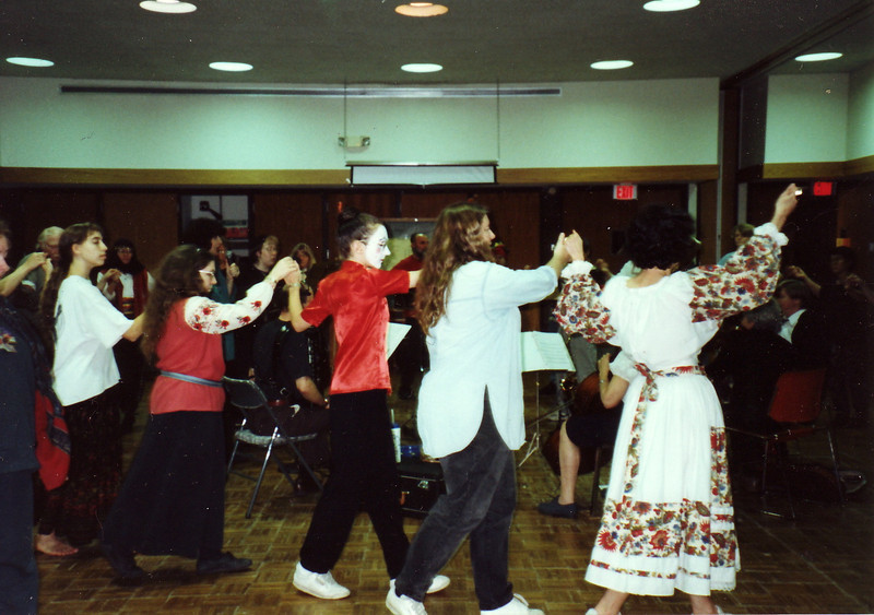 Halloween dance and party, Friday November 3, 1995.  Panharmonium playing in center.