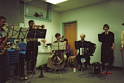 Panharmonium playing at the Unitarian Society (Northampton) after the Transylvania Benefit Dinner. March 25, 1995. Henry, Ken, Irene (guest cellist), Toni, Gene, Andrea...