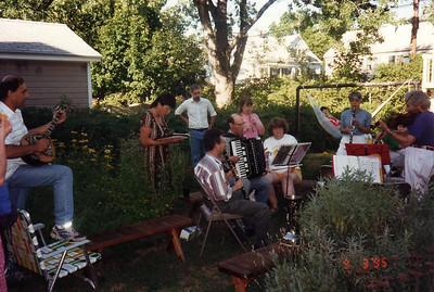 Music party to celebrate Ken's 40th birthday, Sept. 3, 1995.   This was the first of many music parties at Ken & Sandy's new home in Holyoke.