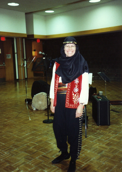 Sandy in Turkish outfit. Nov 3, 1995.