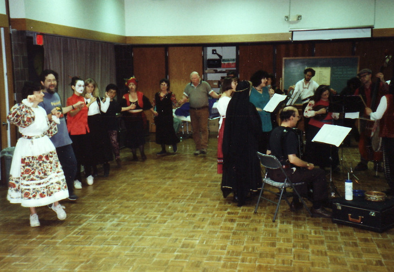 Halloween dance and party, Friday November 3, 1995.  Singers Cindi Huss (in black), Andrea, and Dinah.  Barbara Blumenthal on mandolin.
