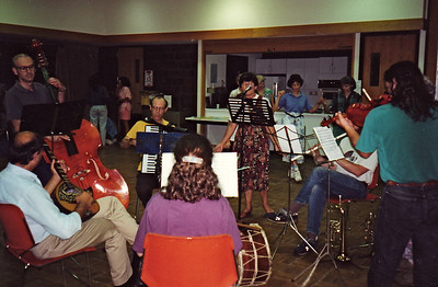 August 19, 1994.  Clockwise from bass player Joe Blumenthal, Gene Goldwater, Toni Krushevska (singing), Ken, Steve Churchill? (violin),  my drum on floor, Sharon Goldwater (clarinet), Premjit Talwar.