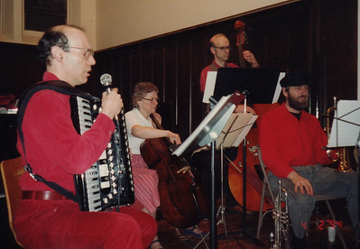 In April 1994 we played for the special dance workshop led by Steve Kotansky. Here we are on the stage at the Unitarian Society, Amherst.  Gene, Sabina, Joe, Ken...