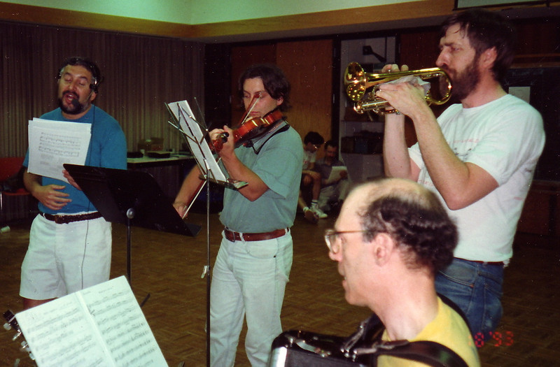 """June 18, 1993.   We weren't yet called """"Panharmonium.""""   The live music nights were simply """"Bring your own instrument"""" events, open to anyone who knew the folk dance tunes and wanted to sing along or play along with Gene."""