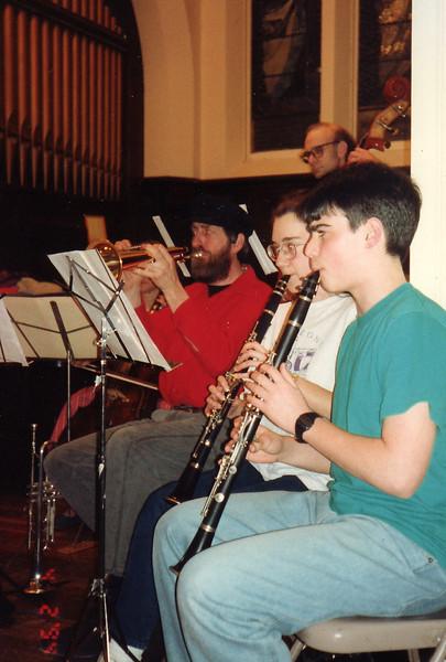 April 2, 1994.   Sharon and Yaron on clarinets.