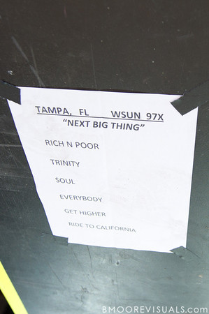 Paper Tongues' set list for their performance on December 5, 2010 during 97X Next Big Thing at 1-800-ASK-GARY Amphitheatre in Tampa, Florida