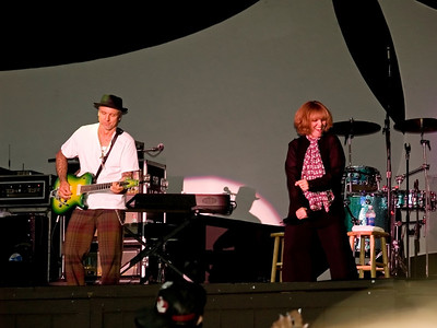 Pat Benatar and guitarist husband Neil Geraldo in concert at Six Flags Great Adventure in New Jersey.