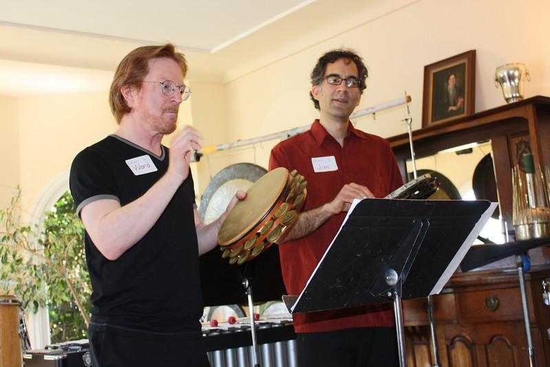 Playing tambourines