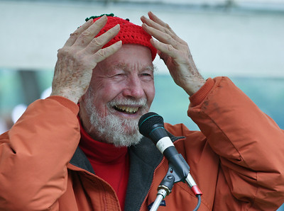 Pete Seeger with his Strawberry Festival cap.  One of our shots from this series was chosen by Appleseed Rcords for the pan liner on Petes Grammy winning CD At 89.  We liked this one little better.