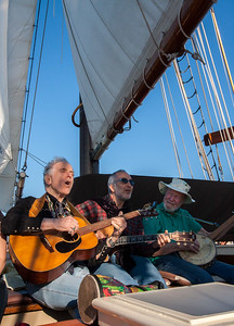 David Amram, Raffi and Pete Seeger on the Mystic Whaler.