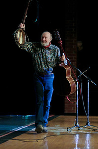 Pete Seeger coming off the Beacon, NY high school stage following his performance.  This shot was used on Pete's Grammy award winning CD At:89.
