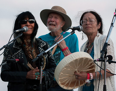 Buffy Sainte-Marie, Pete Seeger and Margo Thunderbird at the 2013 Clearwater Festival closing ceremonies.  This was Pete's final Clearwater performance.