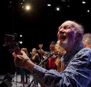 Pete Seeger shot taken from the wings with Guy Davis and the Power of Song Singers at Symphony Space, NYC.