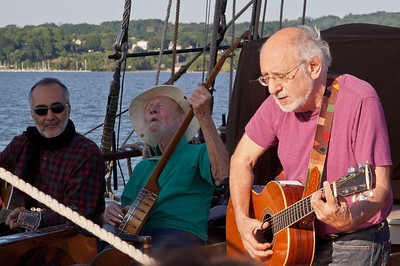 Raffi, Pete Seeger and Peter Yarrow on the Hudson River Sloop Clearwater.
