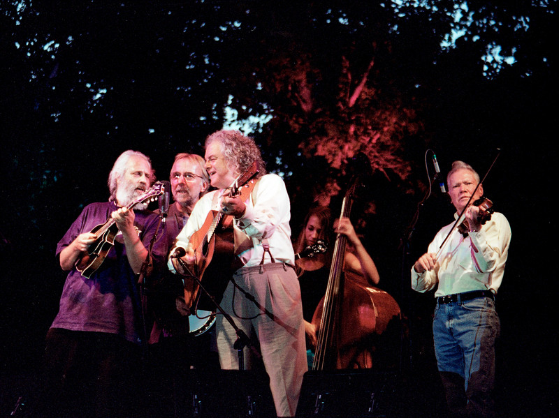"Old and in the Grey at RockyGrass. Band members: Herb Peterson, David ""Dawg"" Grisman, Peter Rowan, Bryn Davies, Vassar Clements"