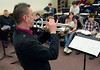 Trumpet player Jay Webb gives instructions to middle and high school jazz band members during the Philly Big Band clinic at Pennfield Middle School on Wednesday January 15,2014. Photo by Mark C Psoras/The Reporter