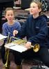North Penn  middle and high school jazz band trumpet players get intructions during the Philly Big Band clinic at Pennfield Middle School on Wednesday January 15,2014. Photo by Mark C Psoras/The Reporter