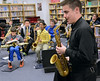 Saxophone player Mike Cemprola gives instructions to middle school jazz band members during the Philly Big Band clinic at Pennfield Middle School on Wednesday January 15,2014. Photo by Mark C Psoras/The Reporter